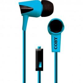 Audífonos Internos Con Micrófono Cable Doble Color Coby Azul CVE 122 BLU