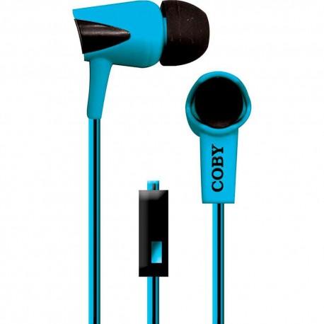 Audífonos Internos Con Micrófono Cable Doble Color Coby Azul CVE 122 BLU - Envío Gratuito
