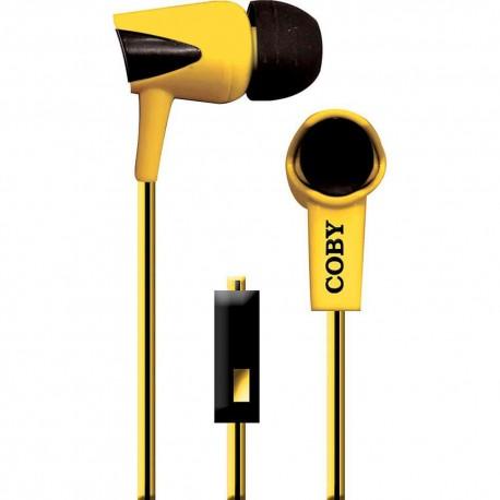 Audífonos Internos Con Micrófono Cable Doble Color Coby Amarillo CVE 122 YLW - Envío Gratuito