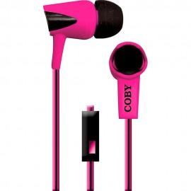 Audífonos Internos Con Micrófono Cable Doble Color Coby Rosa CVE 122 PNK