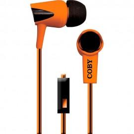 Audífonos Internos Con Micrófono Cable Doble Color Coby Naranja CVE 122 ORG