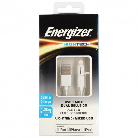 Energizer Cable de Carga Hightech Blanco - Envío Gratuito