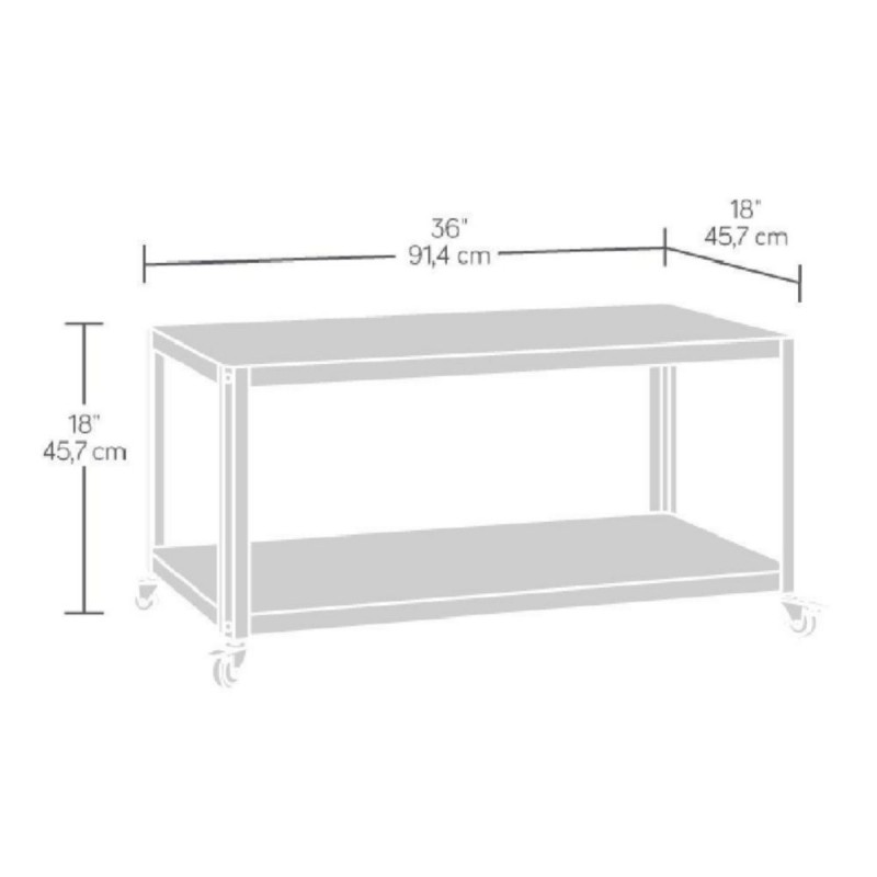 Mesa auxiliar con ruedas sauder square gris for Mesa auxiliar cocina con ruedas