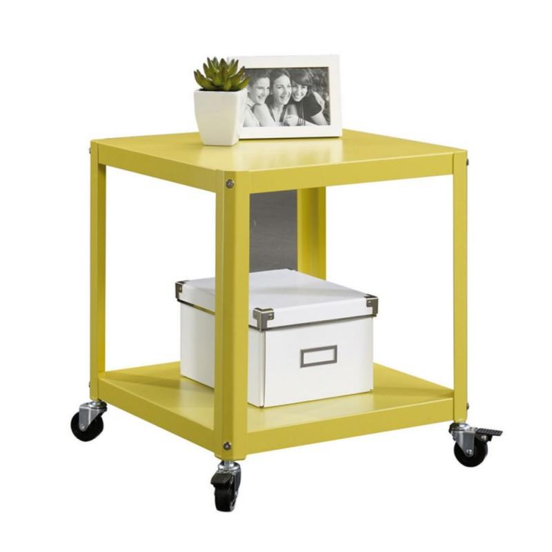 Mesa auxiliar con ruedas sauder square amarillo - Mesa auxiliar con ruedas ...