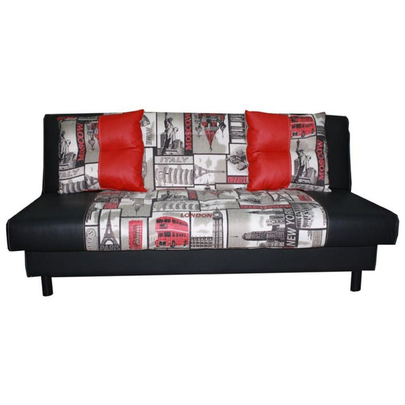 Sof cama matrimonial history negro rojo - Sofa cama rojo ...
