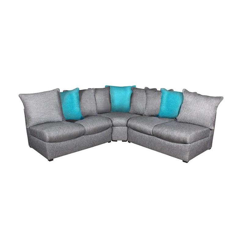 Sala esquinera grey gris con azul 3 pzs for Sala gris con azul