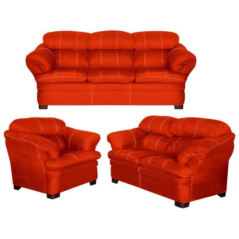 Sala castelli 3 piezas anaranjado for Muebles de sala 3 piezas